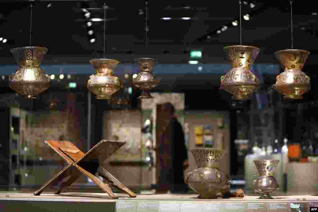 A lectern for the Koran and lamps from the Middle East dating from the 14th century are among the artifacts on display.