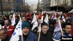 Gresiýanyň paýtagty Afinada geçirilen protestler mahalynda, 7-nji fewral.