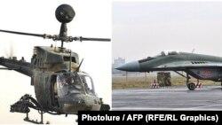 Helikopter koji je Hrvatska kupila od SAD, Kiowa Warrior, i avion MiG-29 koji je Srbija kupila od Rusije, ilustrativna fotografija