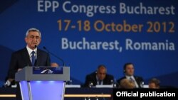 Romania - Armenian President Serzh Sarkisian addresses a European People's Party congress in Bucharest, 17Oct2012.