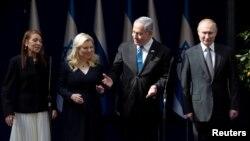 Яффа Иссахар (мать Наамы Иссахар), Сара и Биньямин Нетаньяху, Владимир Путин, Израиль, 23 января 2020 года