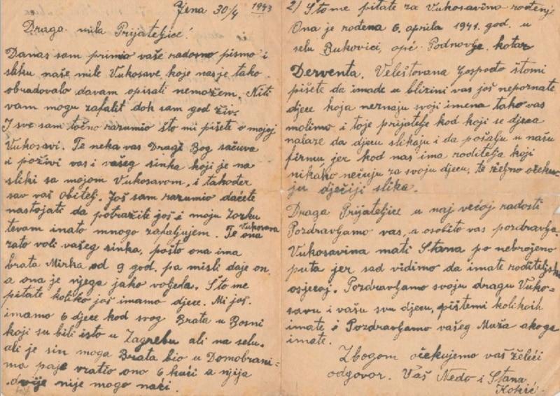 Jedno od pisama koje je Vukosavin otac Nedo pisao njenoj pomajci Slavici iz logora u Jeni 1943. godine