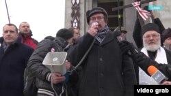 Вячеслав Сивчик на акции протеста против интеграции России и Беларуси, декабрь 2019 года, Минск