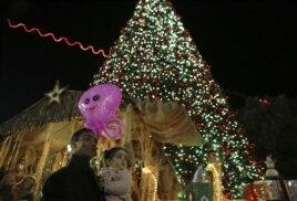 Pomul de Crăciun din fața Biserici Nașterii Domnului de la Betleem.