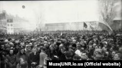Провозглашение Акта воссоединения УНР и ЗУНР 22 января 1919 года на Софийской площади в Киеве