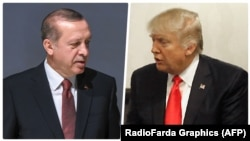 Turkish President Recep Tayyip Erdogan (L) and U.S. President Donald Trump