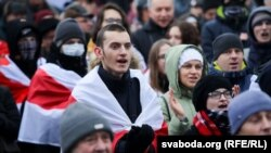 Protesters gathered in Minsk on December 21 for the second day.