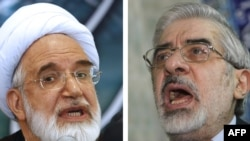 Mehdi Karrubi (left) and Mir Hossein Musavi in photos from 2009