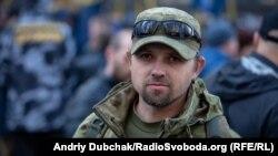 Ветеран бойових дій з позивний «Псевдо», який прийшов підтримати створення міністерства. «Войював у 2015-2016 в лавах добровольчого батальйону. УБД не маю. Нічого не маю, крім чиcтого сумління»