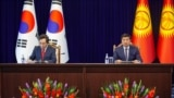 Bishkek - Kyrgyzstan - kygyz - korean flag - Kyrgyzstan - Korea business forum - meeting prime-ministers - Abylgaziev - Lee Nak Yong 18.07.2019