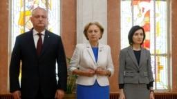 Președintele R. Moldova Igor Dodon, președinta Parlamentului Zinaida Grecianâi şi primul ministru Maia Sandu
