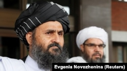 Lead Taliban negotiator Mullah Abdul Ghani Baradar leaves talks with senior Afghan politicians in Moscow in May.