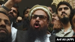 Hafiz Saeed speaks after his release from house arrest in Lahore on November 22.