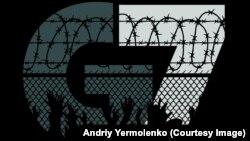 Ilustrație de Andri Iermolenko pe tema G7 și a deținuților ucraineni din Rusia