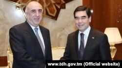 Türkmenistanyň prezidenti Gurbanguly Berdimuhamedow Azerbaýjanyň daşary işler ministri Elmar Magerram ogly Mamedýarow bilen duşuşdy. 31-nji ýanwar, 2018 ý.
