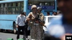 Iranian army soldiers near Iran's parliament during the June 7 terrorist attacks.