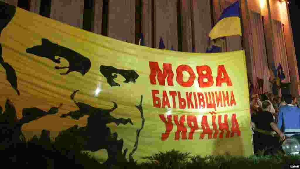 Учасники «Мовного майдану» біля «Українського дому» в Києві, 4 липня 2012 року