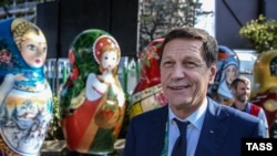 Russian Olympic Committee President Aleksandr Zhukov at a Russian fan event during the Olympics in Rio de Janeiro in August