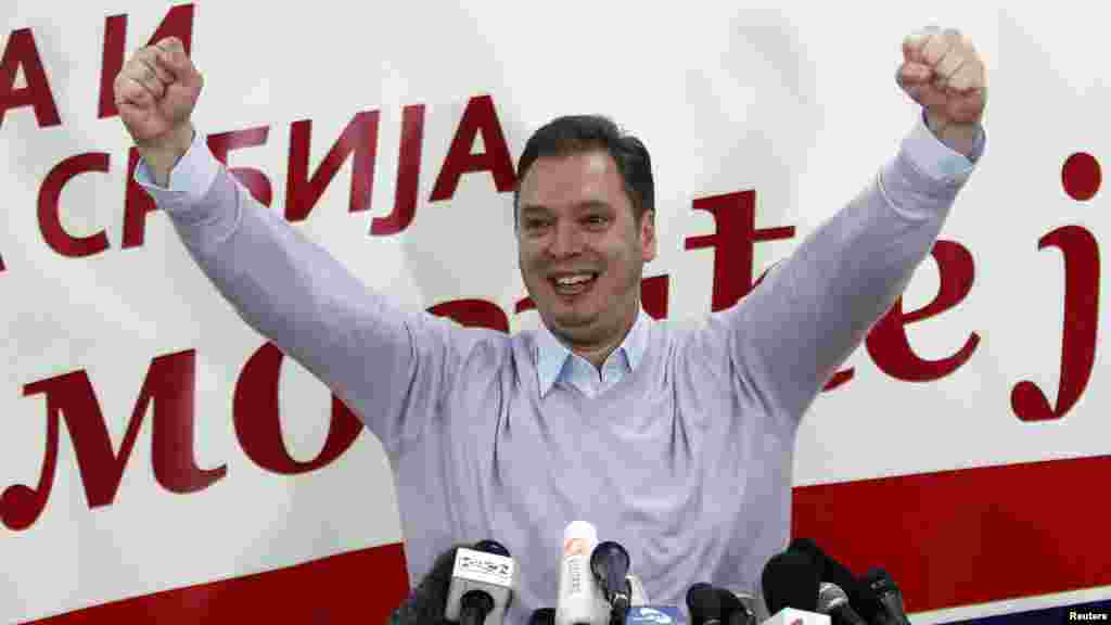 Aleksandar Vucic, the deputy president of the Serbian Progressive Party, reacts to the news.