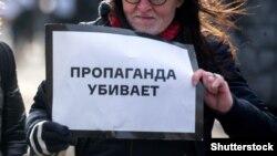 Boris Nemsovu anım aksiyasında, Moskva, 26 fevral 2017