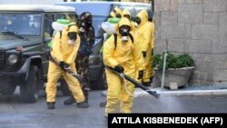 Disinfecting the streets in Budapest, Hungary, in August, in a training exercise for emergency officials. (file photo)