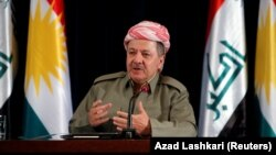 "Kurdish leader Masud Barzani speaks during a news conference in Irbil, Iraq, on September 24. ""We will never go back to the failed partnership"" with Baghdad, he said."