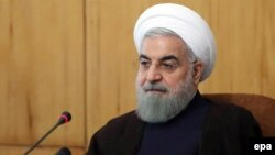Iranian President Hassan Rohani attends a cabinet meeting in Tehran on November 9.
