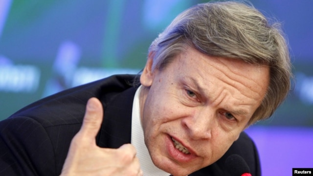 "Aleksei Pushkov, who heads the Russian State Duma's Foreign Affairs Committee, has said Moscow is in the process of  ""saying farewell to our dependence"" on Washington."