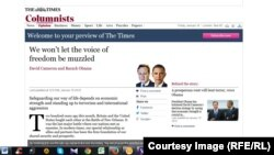 """Обама и Кэмерон - колумнисты """"Таймс"""""""