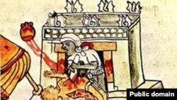 Человеческие жертвоприношения у ацтеков. Рисунок из манускрипта Codex Magliabechiano. Середина XVI века.