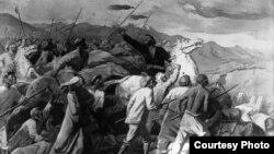 На иллюстрации — репродукция с картины «Восстание кыргызского народа в 1916 году», написанной советским художником Семёном Чуйковым.