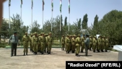 Tajik security troops in the Shuroobod district, which borders Aghanistan (file photo)