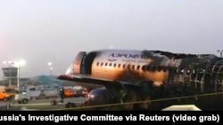 Avionul companiei Aeroflot, după ce incendiul a fost stins
