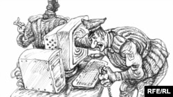 Karikaturany çeken Mihail Zlatkowskiý.