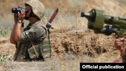 Nagorno-Karabakh -- Karabakh Armenian troops hold exercises, July 11, 2019.