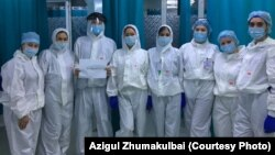 Medical staff at the Central Almaty City Hospital have been treating patients locked down in the facility since earlier this month.