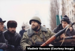 A Chechen fighter in central Grozny
