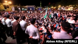 Fans celebrate in the Azerbaijani capital during Baku's hosting of the Eurovision Song Contest in May 2012.