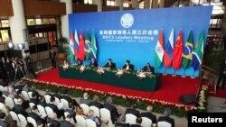 Лідэры краінаў BRICS у часе сумеснай прэсавай канфэрэнцыі.