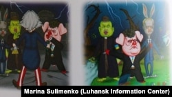 The caricatures of Ukrainian political figures such as President Petro Poroshenko, Prime Minister Arseniy Yatsenyuk, and Defense Council Secretary Oleksandr Turcyhnov are not exactly subtle.