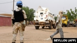 UN peacekeepers patrol in the African country of Mali in August.