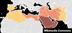 Карта экспансии, начиная с 630 года н.э., Арабского халифата, разделившегося потом на несколько других