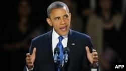 الرئيس الاميركي باراك اوباما يلقي كلمة الفوز في الانتخابات