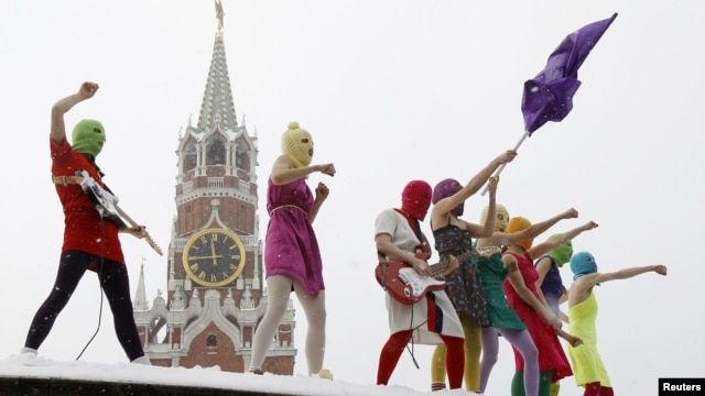 Members of Pussy Riot perform in Red Square in Moscow in January 2012.
