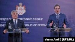 Српскиот претседател Александар Вучиќ и претседателот на Европскиот парламент Антонио Тајани.
