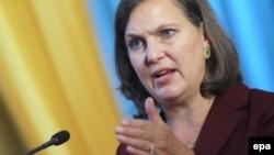 АҚШ мемлекеттік хатшысының көмекшісі Виктория Нуланд. Киев, 7 қазан 2014 жыл.