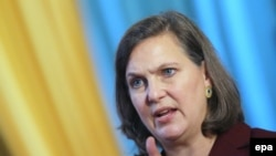 US Assistant Secretary of State for European and Eurasian Affairs Victoria Nuland speaks to students at Kyiv's National Taras Shevchenko University on October 7.