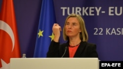 EU foreign policy chief Federica Mogherini speaks after meeting with Turkish officials in Ankara on November 22.