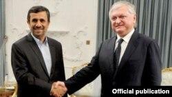 Iran - President Mahmud Ahmadinejad meets with Armenian Foreign Minister Edward Nalbandian in Tehran, 29Apr2012.