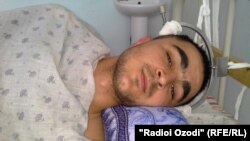 Shaboz Mirzoev, the member of Tajik border forces, beaten by other soldiers, in hospital. Dushanbe, 13.03.2014